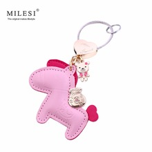 MILESI Brand Leather Keychain Original Design Horse Key Chains, Car Bag Pendant Gift for Lover Keyring Trinket K0141 K0142