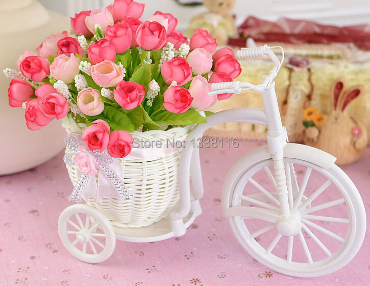 Hot sale plastic rattan wicker trycycle vase include artificial hot sale plastic rattan wicker trycycle vase include artificial rose flowers for wedding home decoration flower set in artificial dried flowers from home junglespirit Choice Image
