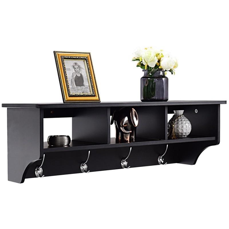 Wood Wall Mount Hooks Shelf for Entryway Storage Organizer Cabinet Home Decoration HW57484