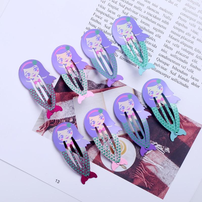 8pcs Snap Hairpin Mermaid Hair Clip For Children Color Barrettes Baby Kid Girls Hair Accessories Cute Animal Hairgrip Headwear
