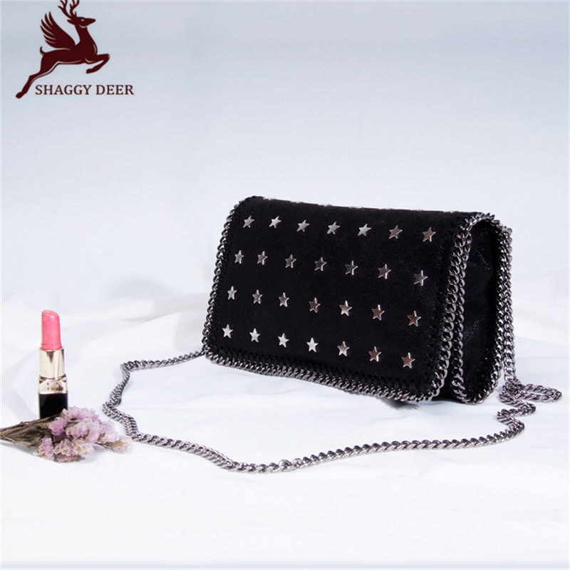 2017 Europe Luxury Shaggy Deer Rivets Five-Pointed Star Singe Chain Shoulder Bag Ladies Small Flap Crossbody Handbag new high quality pvc shaggy deer mini mobile phone key purse flap bag simple luxury crossbody zip pocket stella chain bag