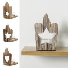 Wooden Rustic Candle Hollow Holder Christmas Ornament Stand Dinner Decoration Wedding Party Home Spa Decor(China)
