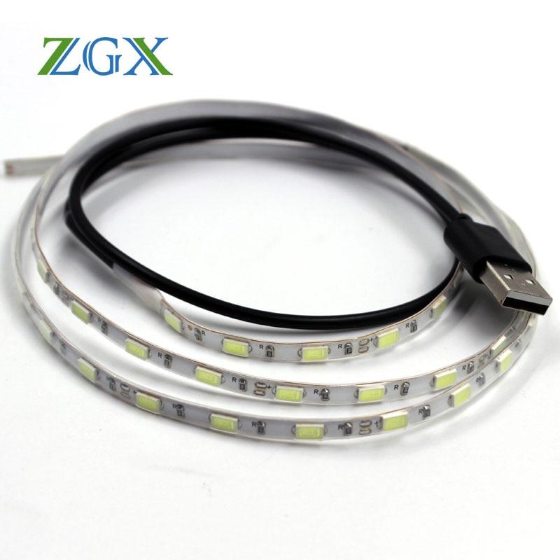5630 USB LED Strip light 1M 5mm DC 5V 5730 lamp neon lights Flexible Tape IP waterproof diode ribbon fita tira PC TV background(China)
