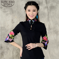 2016 New Arrival Chinese Style Shirt Spring Long Sleeve Shirt Top Blouse Support Ethnic Black White