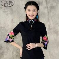 2017 nieuwe aankomst Chinese Stijl Shirt Lente Lange Mouw top blouse Ondersteuning etnische Zwart Wit geborduurde Blouse 585 H 25