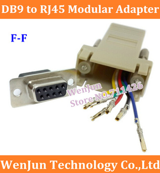 DHL Free Shipping  DB9 Female to RJ45 Female F/F RS232 Modular Adapter Connector Convertor Extender