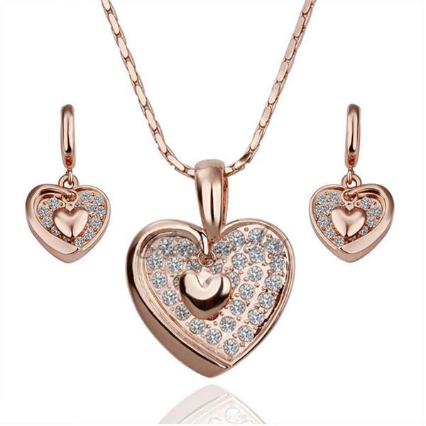 free shipping Rose gold heart design jewelry Wholesale rose gold