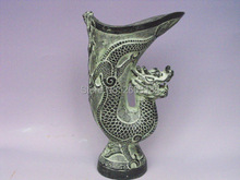 Chinese Antique Bronze Imitation Lucky Dragon Head Cup Jue Mascot Living Room Home Decoration Craft Carven Tiger