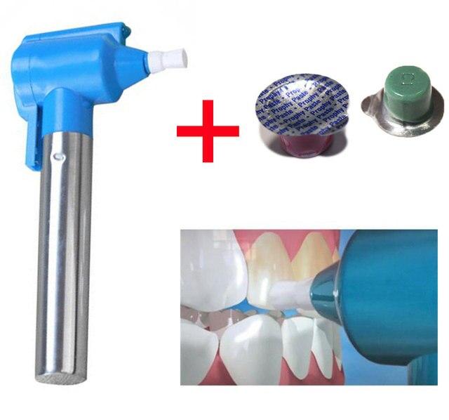 3 piezas/juego pulidor profesional blanqueador de dientes pulidor blanqueador de manchas con 2 piezas de pasta pulidora