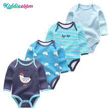 4 PCS בגדי סטים 2019 יוניסקס תינוקת בגדי Roupa דה bebe כותנה תינוק ילד בגדים מלא שרוול חד קרן יילוד בגד גוף