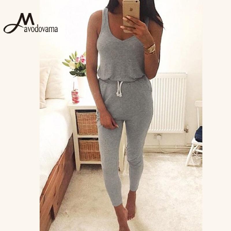 e383357324a0f AVODOVAMA M 2018 Summer Women Sexy V Neck Sleeveless Skinny Fashion Casual  Soild Romper Jumpsuit
