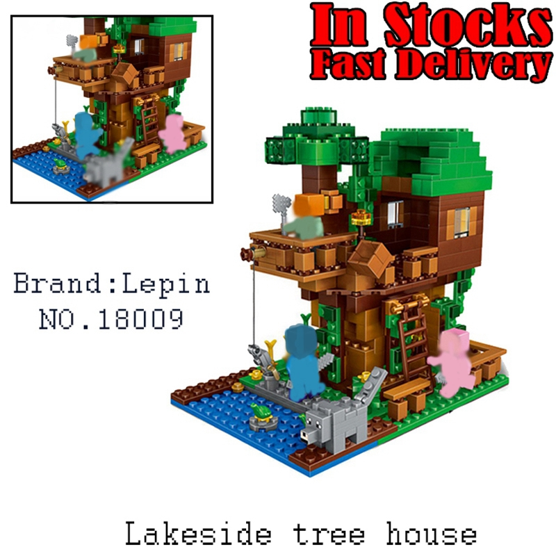 18009 LEPIN 406pcs My World The Jungle Tree House Minecraft ation Figures Building Blocks Bricks Toys for Children Gifts 21125 plants vs zombies garden maze struck game building blocks bricks like figures minecraft toys for children gift b11