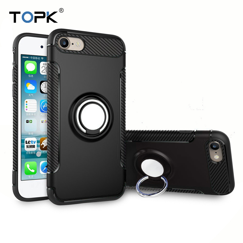 Для iphone 8 7 Plus чехол, topk 3 в 1 Встроенный металлическое кольцо держатель Мягкие TPU & Hard ПК Пластик двойной Слои Панцири телефона чехол