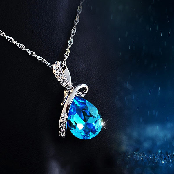 Fashion necklaces pendants crystals blue crystal water drop pendant fashion necklaces pendants crystals blue crystal water drop pendant necklace rhodium plated zircon necklaces pendants for women in pendant necklaces from aloadofball Image collections