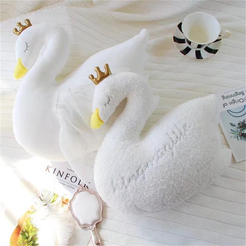 Bébé Oreiller Swan Couronne Gaze Oreiller Coussin Bébé Accompagner de Couchage Lit de Poupée Enfants Chambre Décoration Jouets