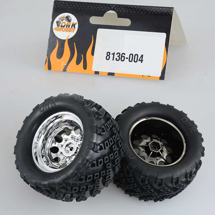 1Pair DHK 8136 12 inches Wheel Tyre 120mm Diameter Rubber Tires with Wheel Hubs for 1:10 Off Road Truck Climbing Car Modified