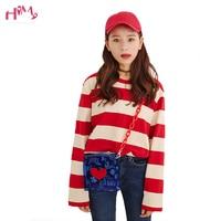 2019 Summer Korean Ulzzang Women Loose Striped T shirts Autumn Female tshirts Long Sleeved O Neck Casual T shirt Feminine Tops
