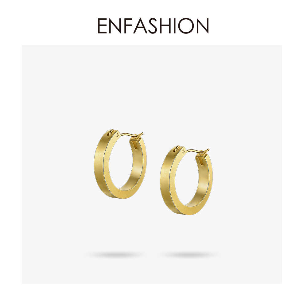 Enfashion Vintage Circle Large Hoop Earrings Matte Gold color Earings Stainless Steel Big Hoops Earrings For Women Jewelry