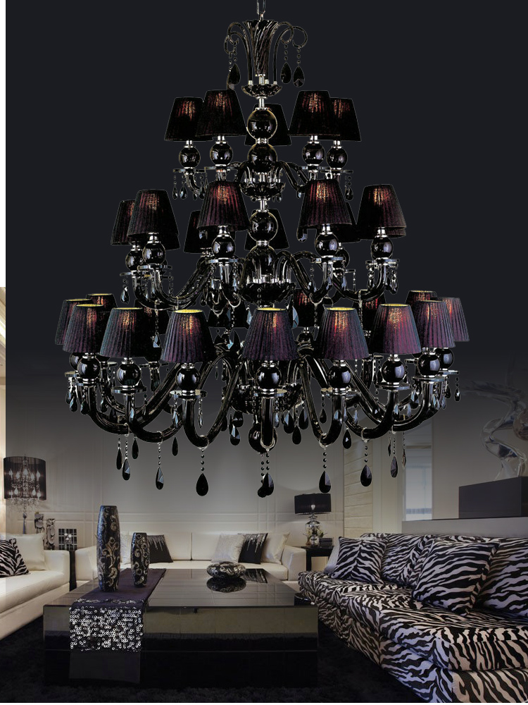 30 lights Large black chandelier lamp with shades for dining room ...