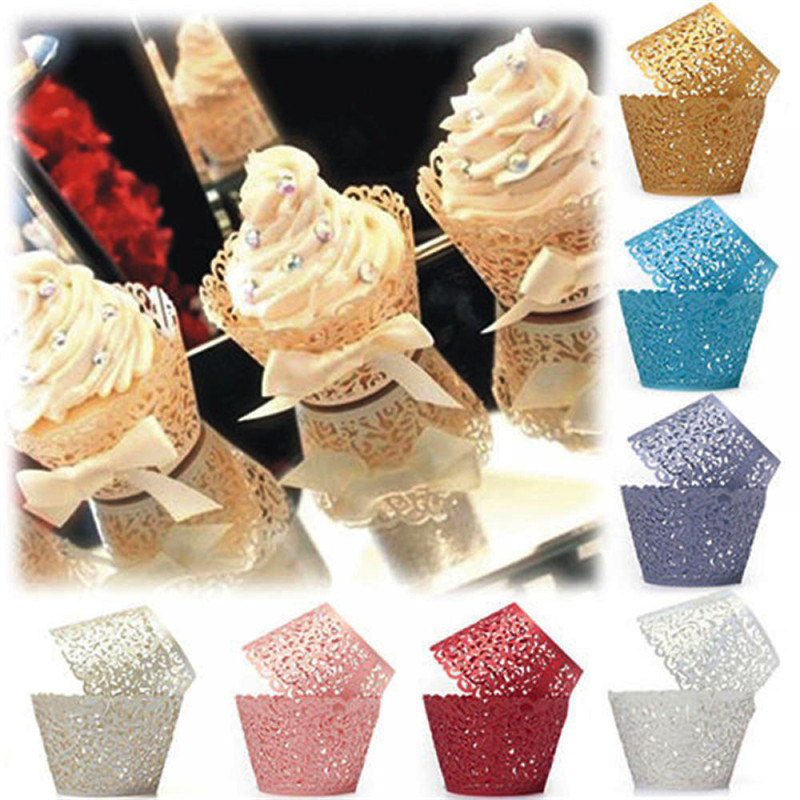 Image 2 - 12Pcs Hot Sanwony Little Vine Lace Laser Cut Cupcake Wrapper Liner Baking Cup Hollow Paper Cake Cup DIY Baking Fondant Cupcake-in Cake Decorating Supplies from Home & Garden