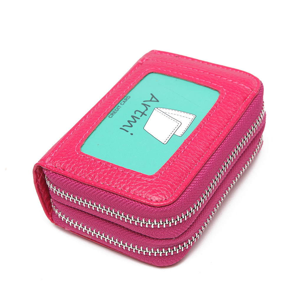 Artmi RFID Womens Card Holder Coin Purse Accordion Style Card Case Female Business Card Holders All-in-one Wallet with keyring