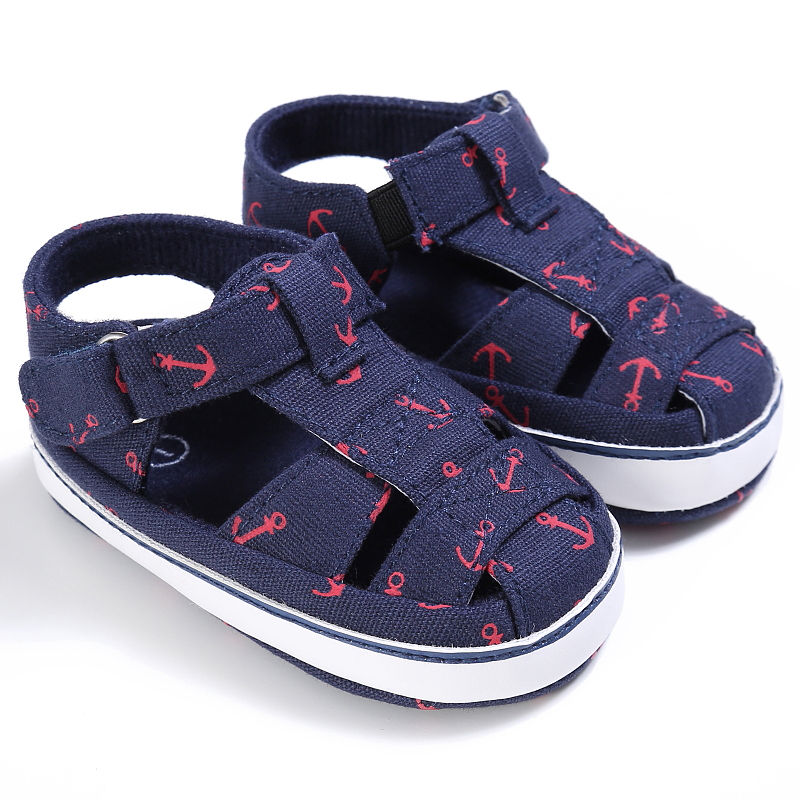 Summer Style Fashion Anchor Baby Boys Shoes Infant Toddler Shoes Soft Sole Indoor Climb Shoes