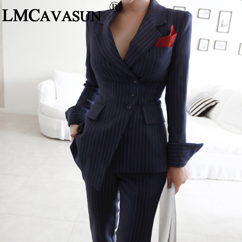 Blazers Qualified Lmcavasun Women Irregular Striped Pant Suits Single Breasted Blazer Jacket And Slim Pencil Pant 2 Pieces Set Female Wear To Busi Firm In Structure Women's Clothing