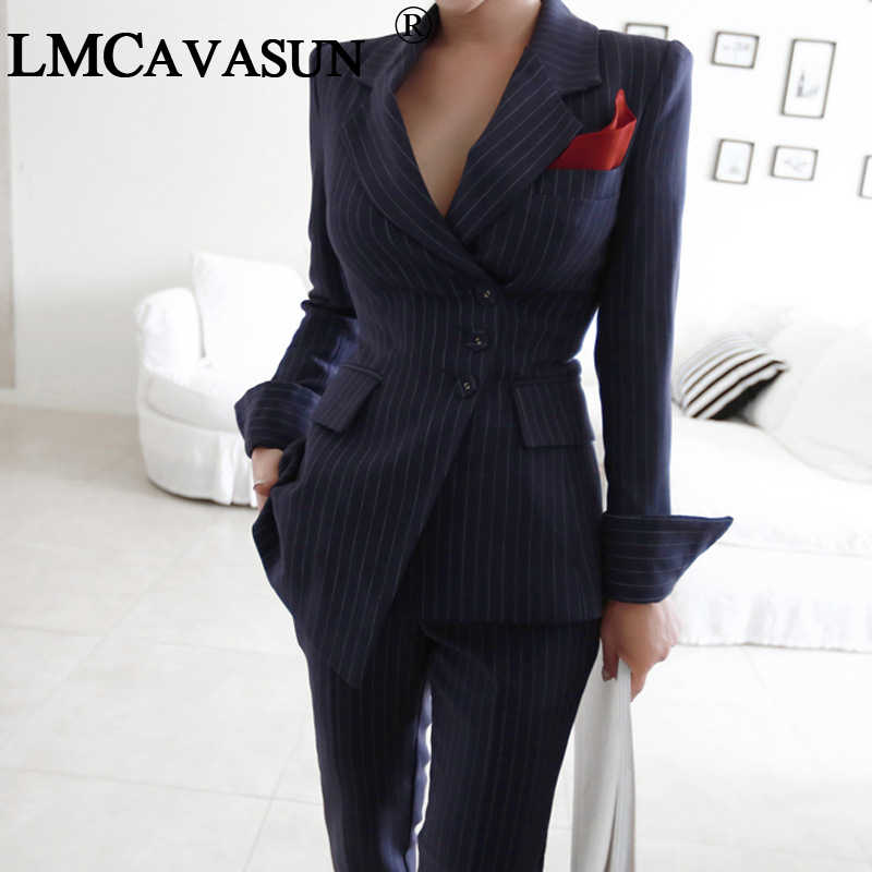 LMCAVASUN Women Irregular Striped Pant Suits Single Breasted Blazer Jacket  and Slim Pencil Pant 2 Pieces 7fe1e5b532a3