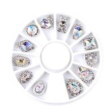 12pcs/set Luxury Charm Clear AB Alloy Nail Rhinestone Diamond Decorations Wheel 3D Mix Designs Manicure Tools