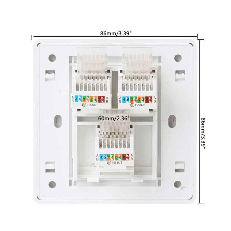2019 nowy 86 typ gniazdo komputerowe Panel CAT5E moduł sieciowy RJ45 interfejs kabla Outlet gniazdo ścienne sprzęt elektryczny