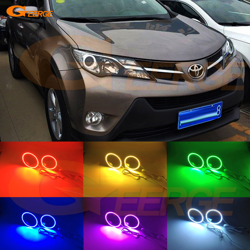 For toyota RAV4 2013 2014 2015 Excellent Angel Eyes Multi-Color Ultra bright RGB LED Angel Eyes kit Halo Rings 4 90mm rgb led lights wholesale price led halo rings 12v 10000k angel eyes rgb led angel eyes for byd for chery for golf4