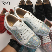 Brands Designers Women Casual Shoes Patchwork Bling Diamond Crystal Suede Upper Sneakers Lace Up Flat Rubber Shoes