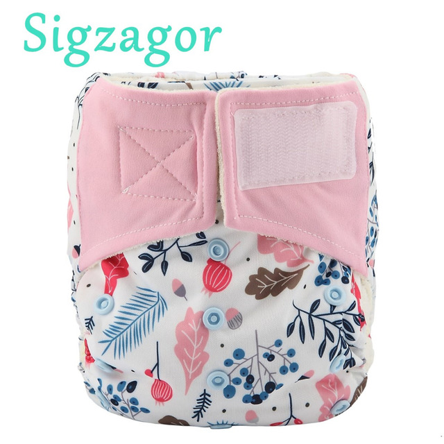 Sigzagor 10 All In One Bamboo Baby Cloth Diapers Nappies Hook And