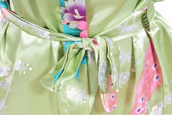 f2192b3cf ... Plus Size S-3XL Bathrobe and Belt Pajama Women Japanese Yukata Kimono  Satin Silk Vintage ...