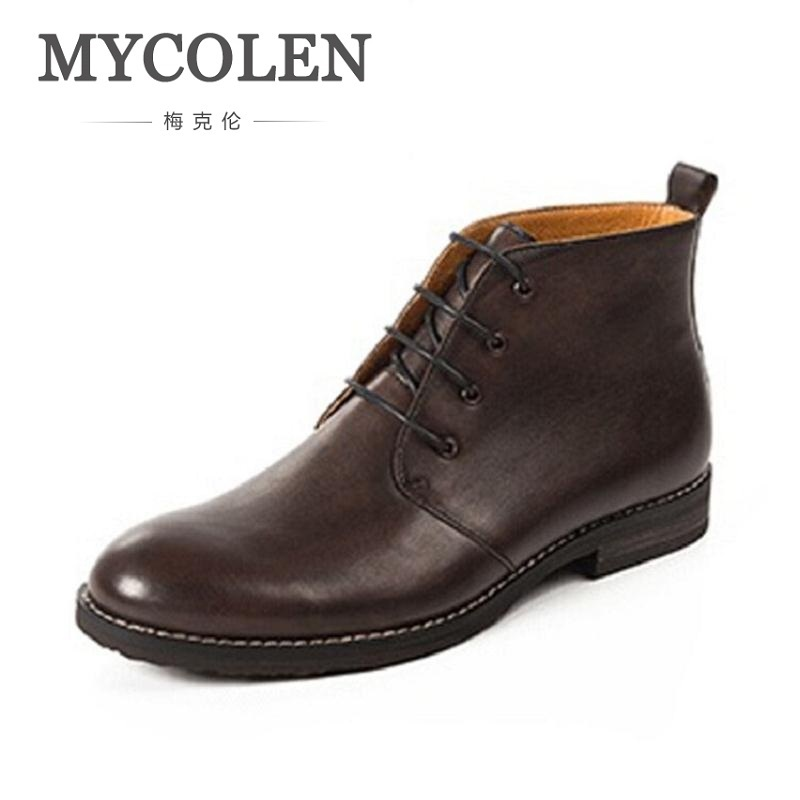 MYCOLEN Brand New Arrival Classic Men Boots high-top Printing Men Ankle Boots Lace-Up Casual Men Autumn Shoes boots homme
