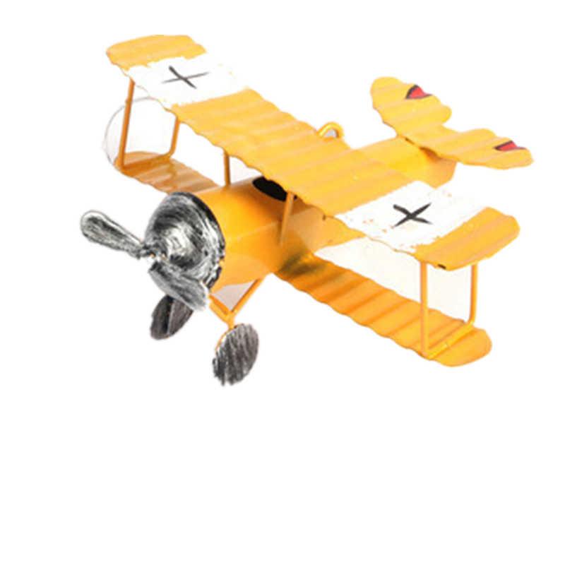 VILEAD Iron Retro Airplane Figurines  Metal Plane Model Vintage Glider Biplane Miniatures Home Decor Aircraft for Kids Gift