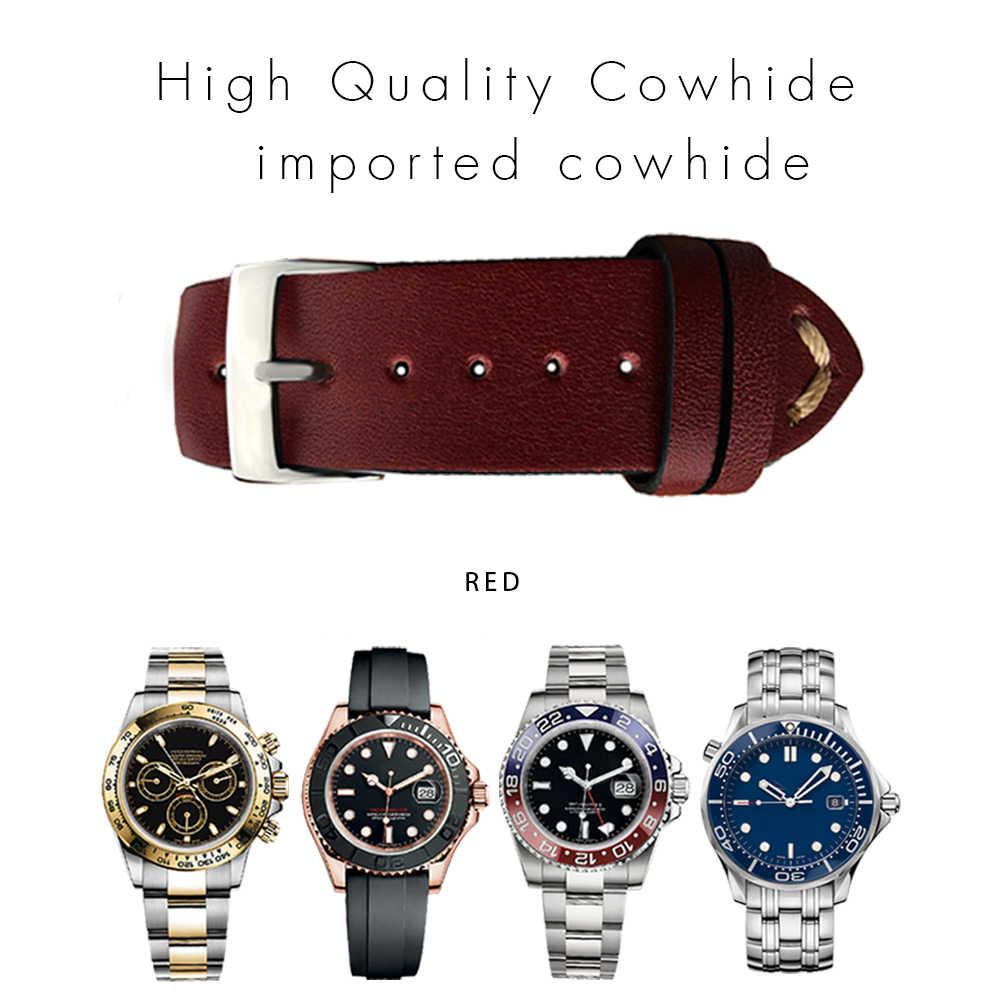 22 мм 20 мм Универсальная винтажная телячья кожа для часов Rolex_watch ремешок для часов Omega ремешок для суб браслет Retrol красочный человек