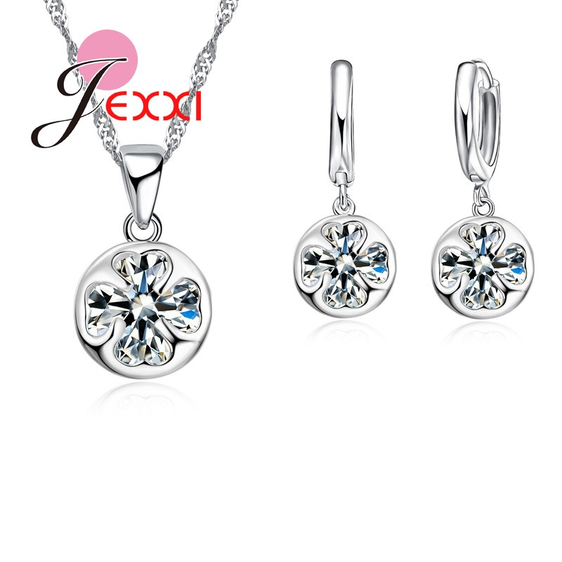 3de3d5dbc47a JEXXI alta calidad mujeres claro cristal austriaco joyería de moda  accesorios de Boda nupcial clásico collar pendientes Set regalo