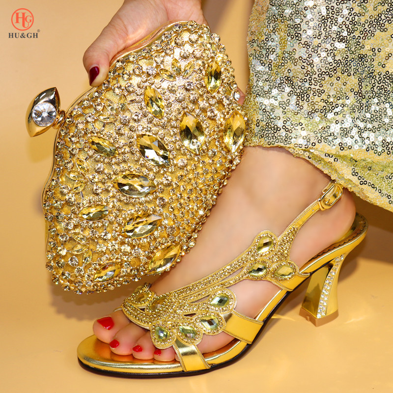 New Gold Color Nigerian Shoes and Matching Bag Ladies Shoes with Matching Bags Set High Heels African Wedding Shoes and Bag Sets g36 wholesale gold wedding shoes and bag set hot selling latest african wedding lady shoes matching bag with stones