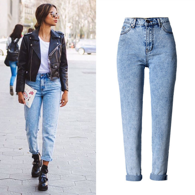 2019 High Quality Women Long   Jeans   High Waist 100% Cotton Snow Wash Type Denim   Jeans   Vintage Loose Straight Denim   Jeans   Trousers