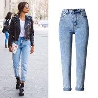 2019 High Quality Women Long Jeans High Waist 100% Cotton Snow Wash Type Denim Jeans Vintage Loose Straight Denim Jeans Trousers