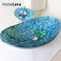 Modern Oval Tempered Glass Sink Waterfall Basin Faucet Set Bathroom Sink Faucet Blue Color