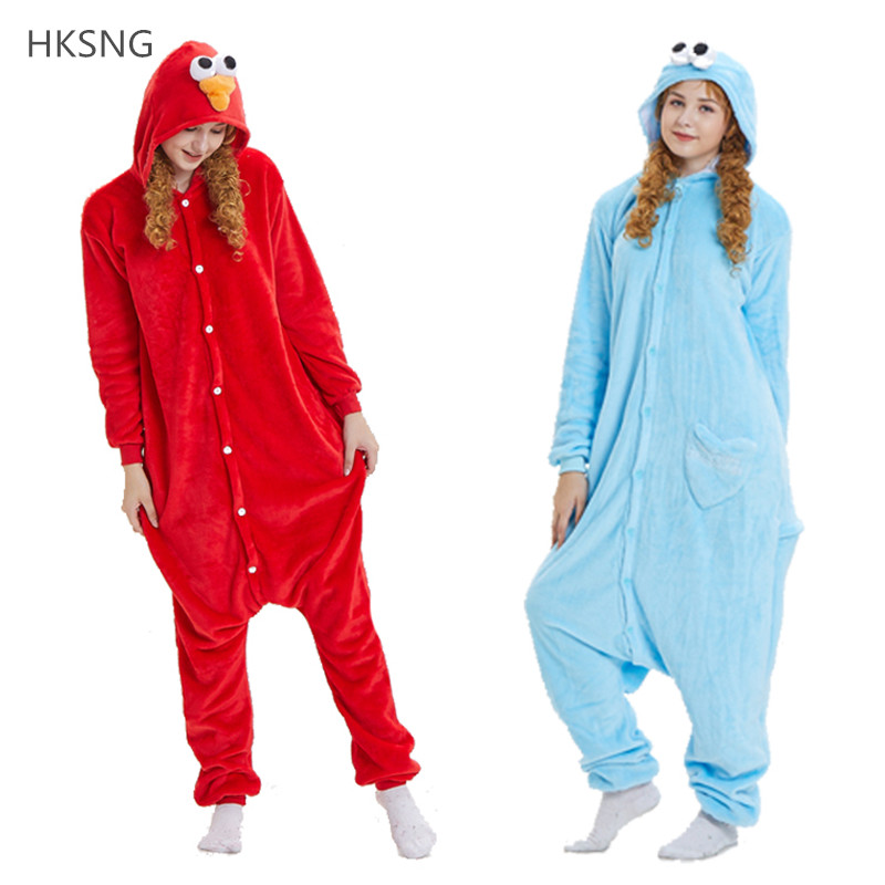Kigurumi New Flannel Adult Cookie Monster Pajamas Disfraces For Unisex Sleepsuit Sleepwear Pyjamas Animal Onesie