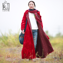 Hisenky 2019 Hooded Parka Winter Jacket Women Quilted Long Coat Red Trenchcoat W