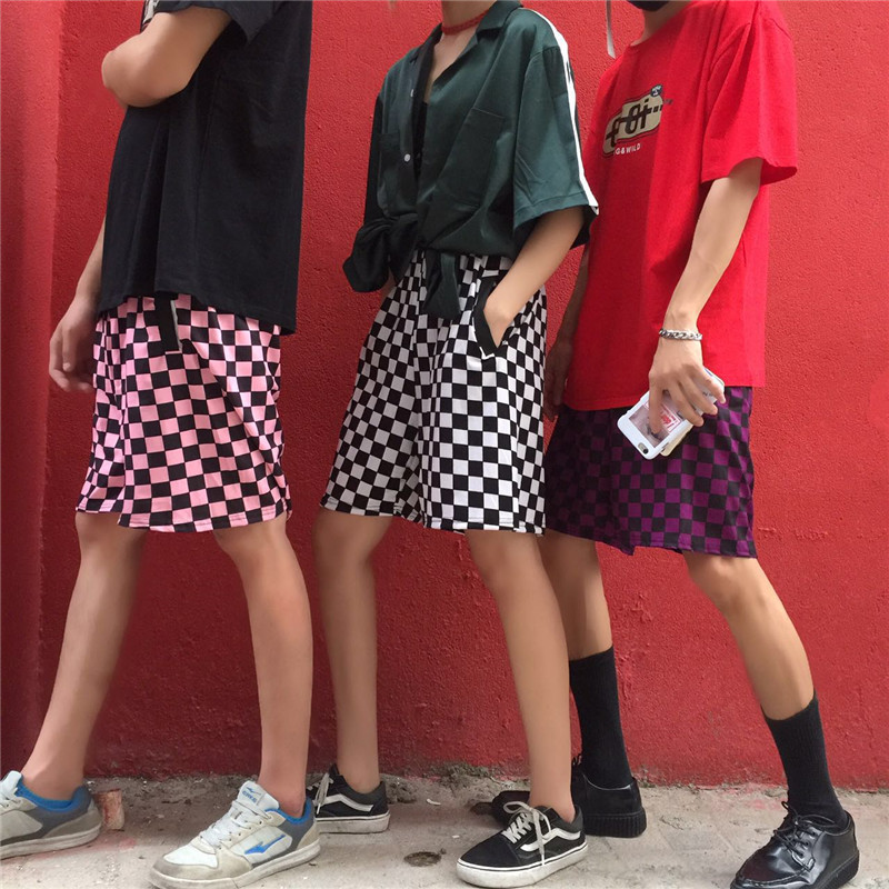 Hot Retro Style Black White Checkerboard   Shorts   Fashion Street Women INS 3 Colors Harajuku Hiphop Street Cotton