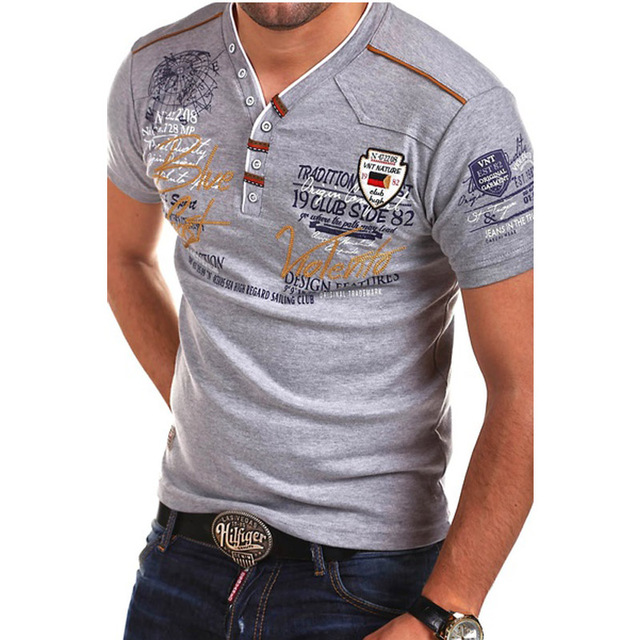 Summer V-neck Cotton Slim Fit Casual Male T-Shirt
