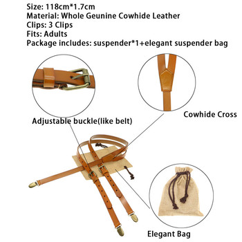 1.7cm real retro cowhide brown leather strap Women men suspenders belt adjustable bronze buckle braces groom Y-Shaped gift bag