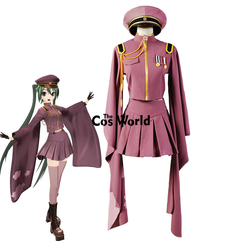 Vocaloid Hatsune Miku Senbonzakura Kimono Uniform Dress Outfit Anime Cosplay Costumes Whole Set(China)