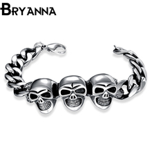 BRYANNA 2017 New Fashion Pop Skull Bracelets For Men High Quality Bracelet Popular Knighthood Friendship Charm Bracelet GMYH8032