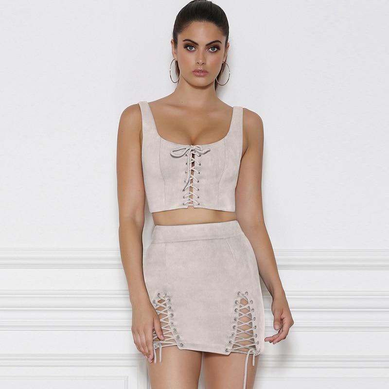 Suede Two Piece Set Sleeveless Crop Top And High Waist Mini Skirt 2